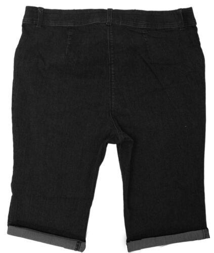 Da Donna Pantaloncini in Denim Stretch Nero Argento tasche con zip Jeans Corti Donna Plus UK
