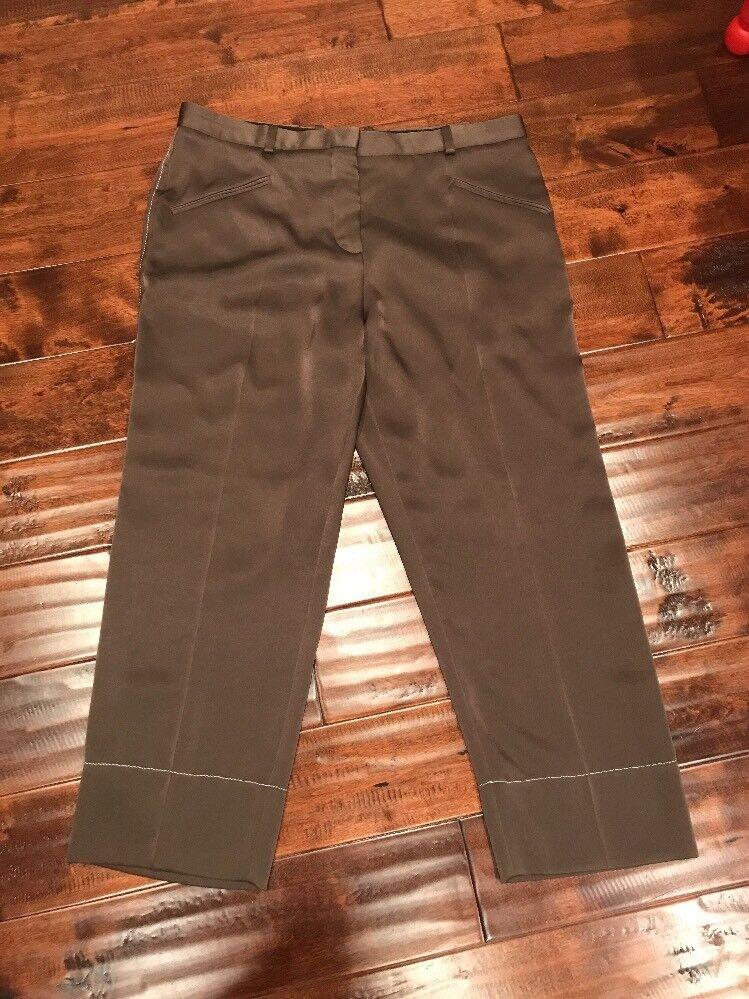 Sonia Rykiel Paris Shimmering Green Cropped Pants, Size 14 (US) 46 (FR)