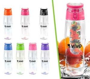 Fruit Infusion Infusing Infuser Water Bottle Hydration Sport Gym Juice Flip Cap