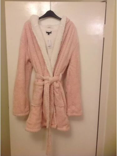 Details about  /TOP SHOP LADIES PINK// PEACH WAFFLE DRESSING GOWN SIZE MEDIUM 12//14 BNWOT