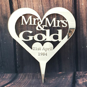 Name Personalised Wedding Mr & Mrs Heart Cake Topper Keepsake Mirror Acrylic