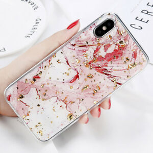 Douce-Marbre-Paillettes-Or-Motif-Coque-Housse-Etui-Case-Pr-iphone-X-8-7-6S-Plus