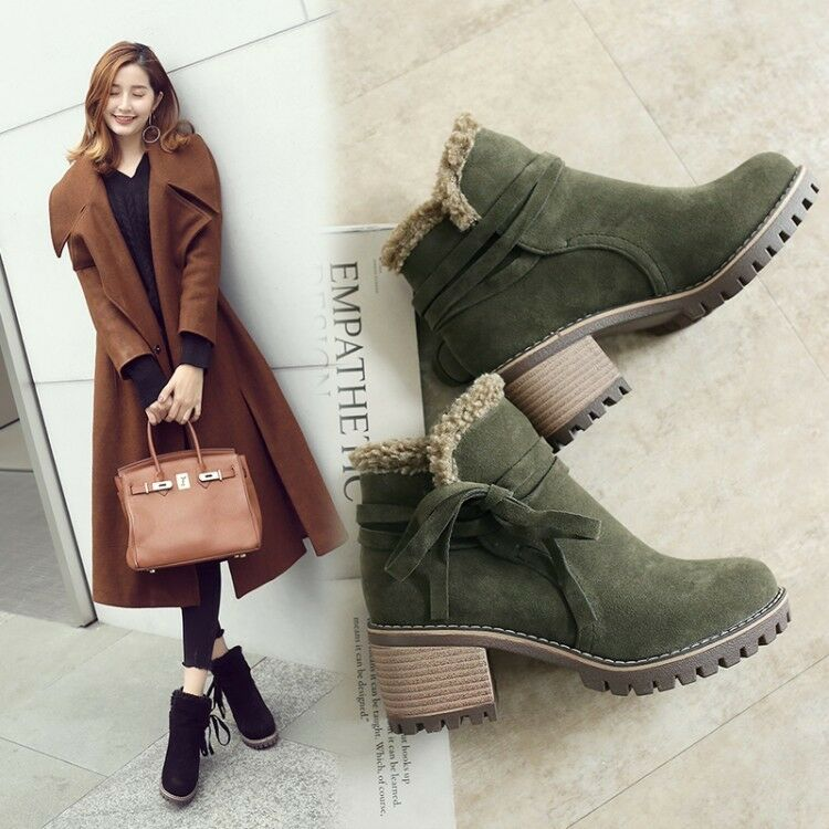 New Womens Winter Fur Trim Round Toe Faux Suede Gothic Block Heels Ankle Boots