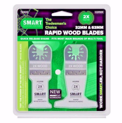 H2RWK SMART 32mm//63mm RAPID Wood//Plastics Clean Precise Cut Multitool Blade Set