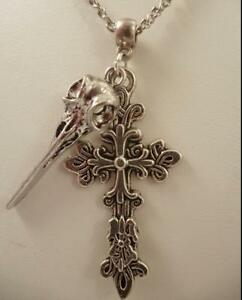 Vintage Silver Raven Skull/Filigree Cross Charms Chain Statement Collar Necklace