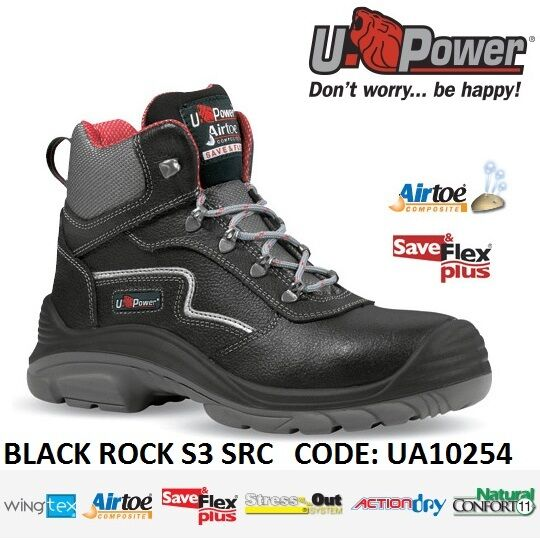 UPOWER SCARPE LAVORO ANTINFORTUNISTICA BLACK ROCK S3 SRC U-POWER UA10254 -