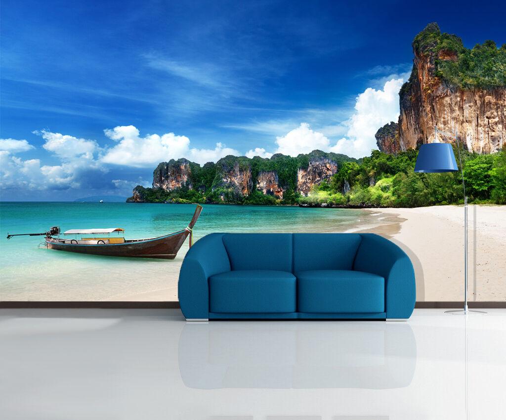 3D Sky Beach Cliffs 973 Wallpaper Mural Paper Wall Print Wallpaper Murals UK