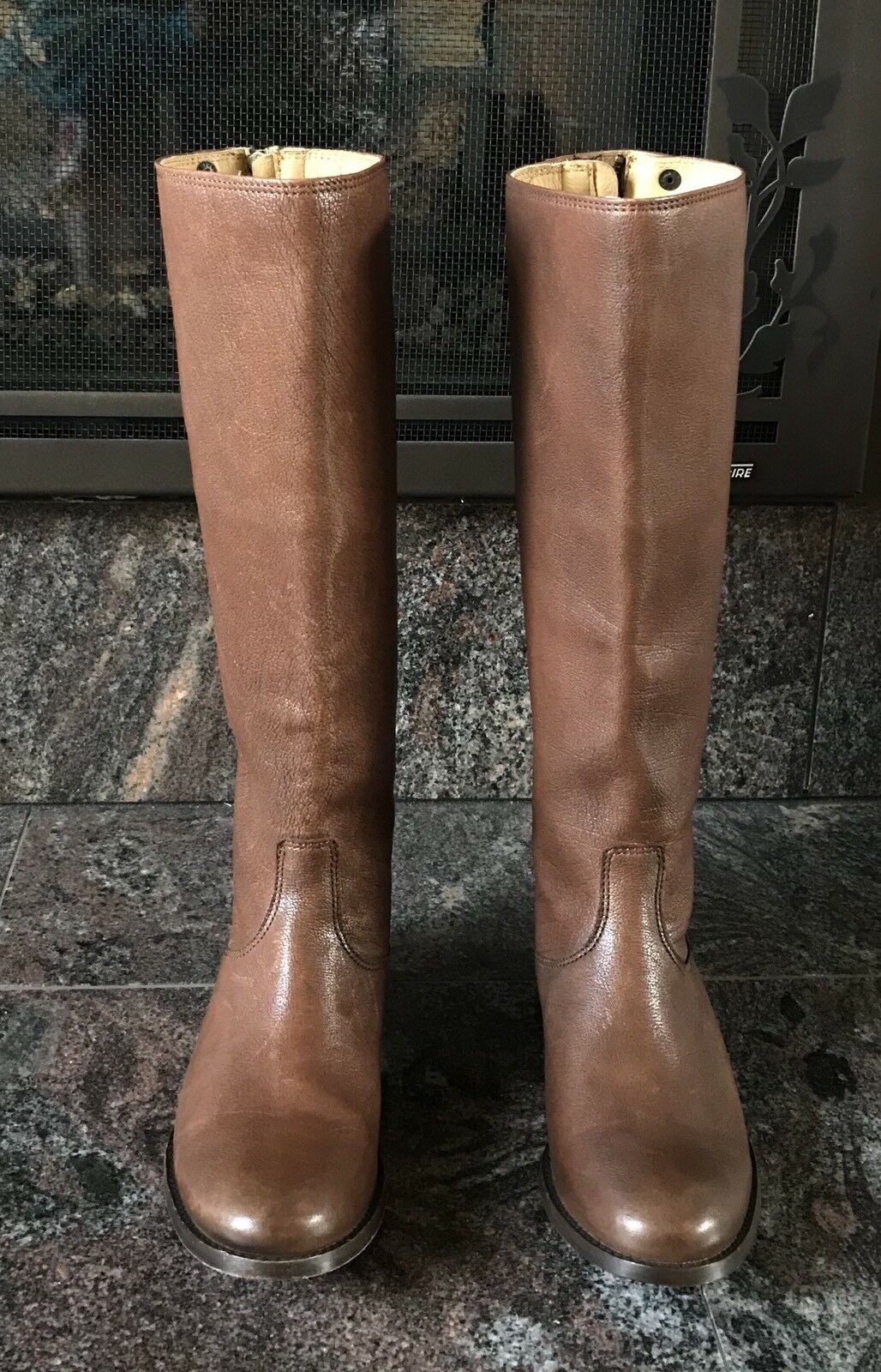 New  388 Frye damen Melissa Button Back Back Back Zip Grain Leather Riding Tall Stiefel 5.5M 5fe303