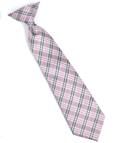 MPBC4852RD Boy/'s Youth Red Microfiber Cross Stripe Clip On Tie