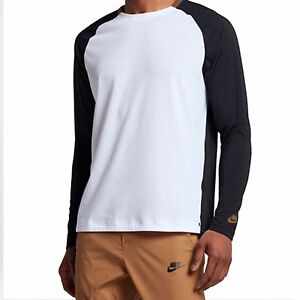 Nike Sportswear Bonded Men's Long Sleeve Top White/Black/Golden Beige