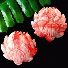 2Pcs Delicate Nice Pink Tridacna Flower Carved Pendant Bead 34*32*11mm AE1215