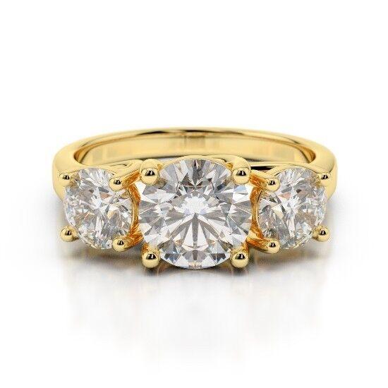 2.00 Ct VVS1 Round Cut Bridal Diamond Engagement Ring 18K Real Yellow gold Rings