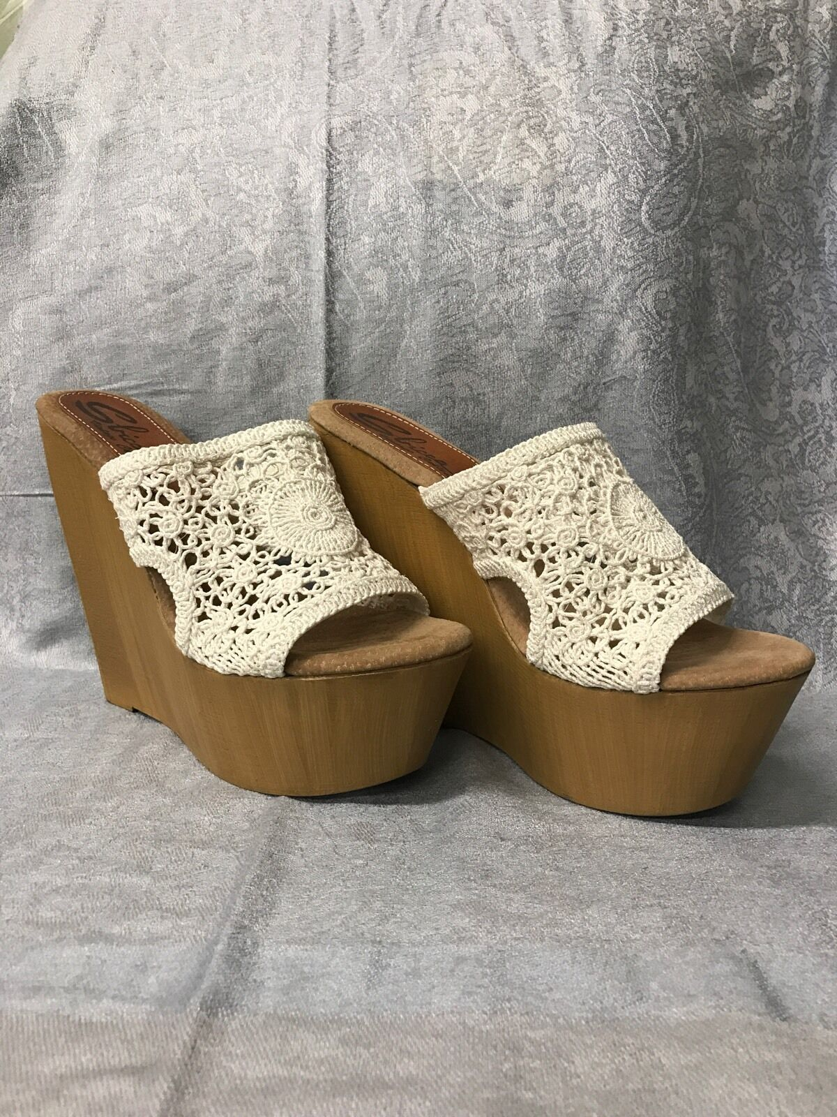 SBICCA VINTAGE COLLECTION WEISS CROCHET WEDGE 10 OPEN BACK BOSTON PROPER 41