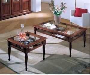 Tavolino da salotto con bacheca quadrato o rettangolare in for Mobili bassi da salotto