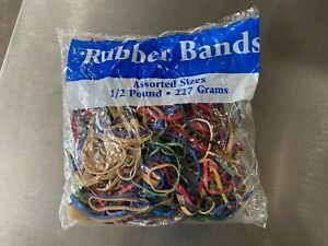 Bazic Rubber Bands Half Pound Multi Color & Sizes 465 Count USA Office Supplies