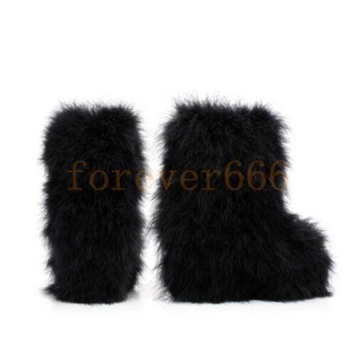 Flauschige Damen Schneeschuhe Faux Warm Winter Stiefel Outwear Mode Pelz Boots 0qx7xpO