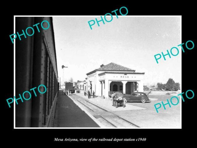 OLD POSTCARD SIZE PHOTO OF MESA ARIZONA THE RAILROAD DEPOT STATION c1940