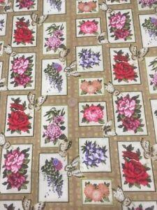 Asian-Garden-Floral-Butterflies-Fabri-quilt-100-Cotton-Quilting-fabric-112-2522