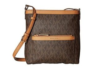 876a0bd9f6d6 Michael Kors Morgan Brown Signature Crossbody Messenger Bag 38H6GOGM2B