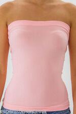Pink - Seamless Stretch Tube Top SLIMMING Strapless Sleeveless Basic Shirt