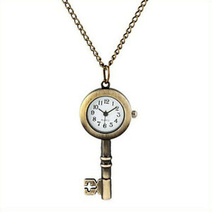 Bronze-Necklace-Jewlery-Cute-Star-Locket-Watch-Antique-Key-Style-Pocket-Watch