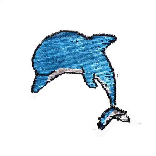 Dolphin Reversible Sequined Sew On Patches Embroidered Patch Applique M/&R