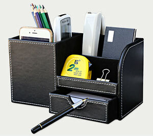 Etonnant Image Is Loading Black Leather Office Home Desktop Organizer Desk Pen