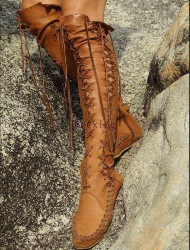 Mujeres Vintage De Cuero Cuero Cuero Con Cordones De Invierno botas Informales Talla Grande Hasta La Rodilla Zapato  apresurado a ver