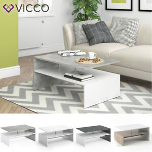 Détails sur Vicco Table basse Table de salon Table d'appoint blanc béton  anthracite chêne