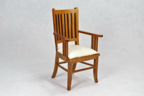 Dollhouse Miniature 1:12 Scale Mission Style Arm Chair #12080