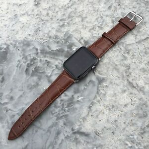 Bien Informé Brown Genuine Leather Crocodile Croc Strap Band For Apple Watch Iwatch 38mm/42mm