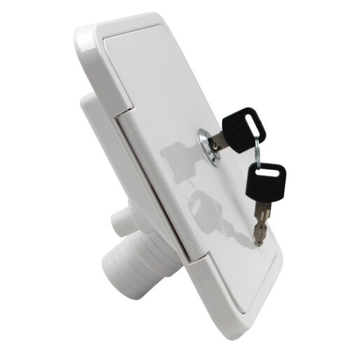 White Gravity Plastic City Water Tank Inlet Hatch Camper RV Lock Door #1