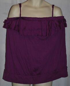 Lane Bryant strappless cami tube top tank shirt 26//28 solid purple cotton modal.