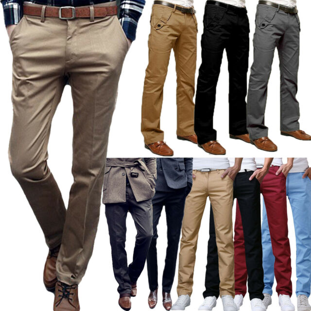 Mens Stretch Chino Trousers Pants Slim Fit Formal Jeans WestAce Cotton Designer