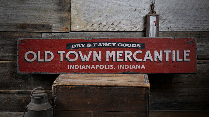 Old Town Mercantile Sign, Wood Mercantile Decor -Distressed Wood Sign ENS1001963