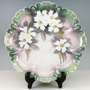 RS-Prussia-Germany-Hand-Painted-Porcelain-Plate-White-Flowers-Green-Gold-Vintage