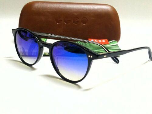 New Authentic GARRETT LEIGHT Pacific Black//Blue Layered Mirror 48mm Sunglasses