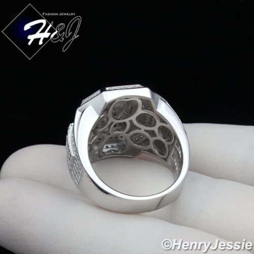 MEN 925 STERLING SILVER LAB DIAMOND ICED OUT BLING JESUS FACE RING*SR68