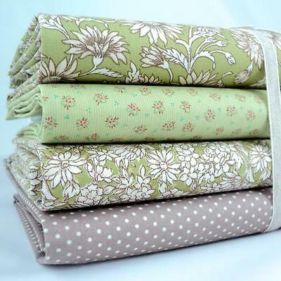 4 X FQ BUNDLE - ANTIQUE DAISY - GREEN 100% FLORAL COTTON FABRIC BUNTING