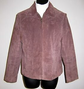 Relativity-Sz-M-Petite-Soft-Brown-Suede-Leather-Fitted-Jacket-Coat-w-Zip-Front