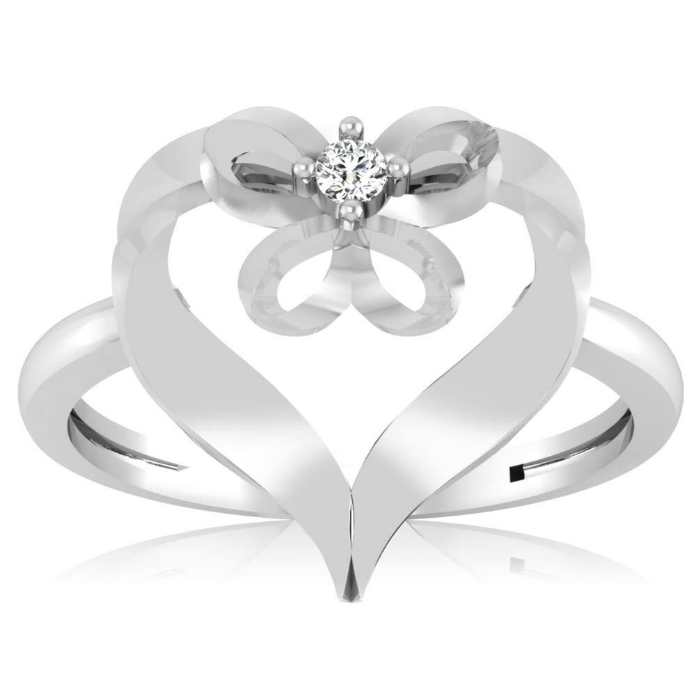 0.02 Ct Heart Cut Diamond Rings White gold Finish Valentine Day Rings Size 7