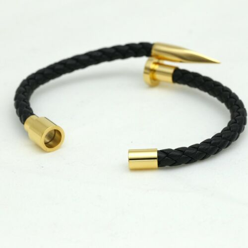 "DG Mens Gold Stainless Steel 8/"" Black Braided Leather Magnetic Nail Bracelet*BOX"