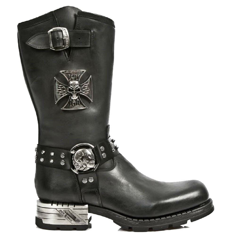 M.MR030-S1 New Rock Stiefel Stiefel Rock with Skull Iron Cross and Skull Buckle with Steel Heel 1a1ad1