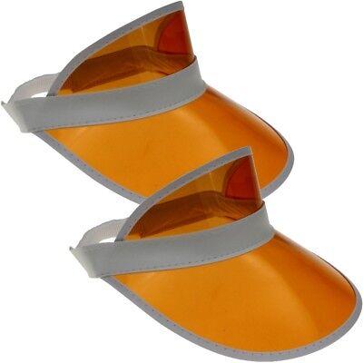 2x Visor Cap Retrò Sole Berretto Visiera Trasparente Mascherina Cappello Visiera Orange-mostra Il Titolo Originale