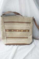 Beige e marrone bottone e impunture PATTERN WOMANS BAG