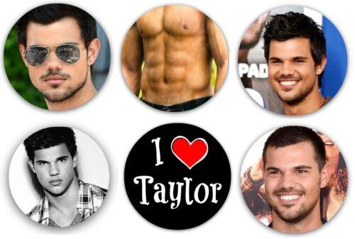 """Taylor Lautner Pinback Buttons or Fridge Magnets 1.25/"""" Set Of 6 Different Design"""