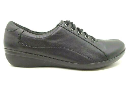 Clarks Black Leather Split Toe Casual Wedge Oxford