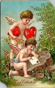 Antique-Postcard-To-My-Valentine-Winged-Cupid-Germany