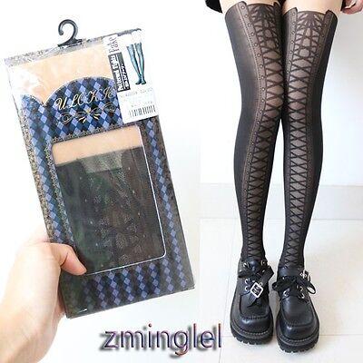 Sexy Gothic Lolita Fake Tie Lace up Tights Black Pantyhose Thin Punk Rock Girls