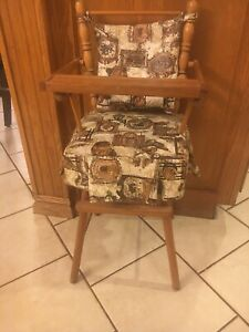 Vintage Doll High Chair Wood Swing Tray Fabric Cushion Seat And